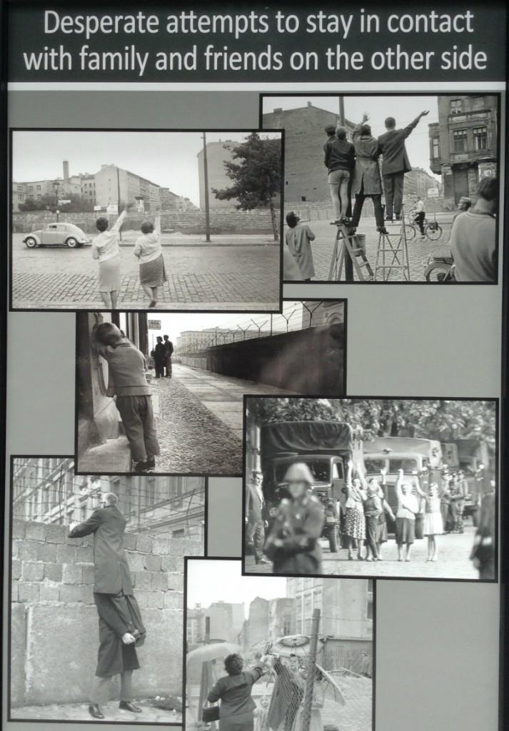 """Parte de la exposición fotográfica que se encuentra al lado del fragmento del Muro de Berín, en el Miami Dade College """"- Wolfson Campus - regalo del  Estado Alemán"""
